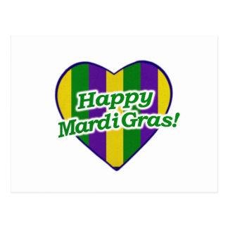 Happy Mardi Gras Logo Postcard