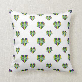 Happy Mardi Gras Logo Throw Pillow