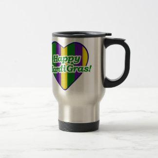 Happy Mardi Gras Logo Travel Mug