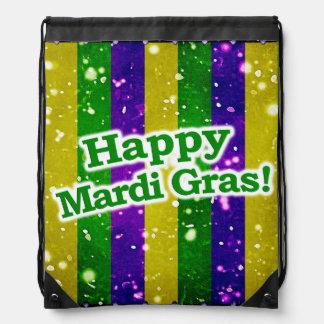 Happy Mardi Gras Poster Drawstring Bag