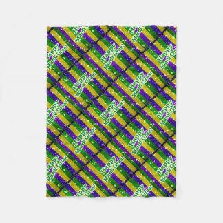Happy Mardi Gras Poster Fleece Blanket