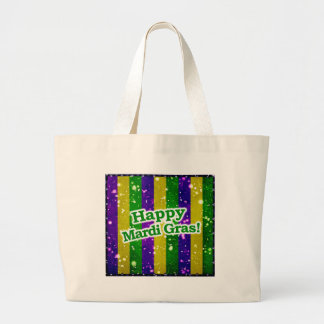 Happy Mardi Gras Poster Large Tote Bag
