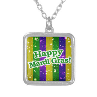 Happy Mardi Gras Poster Silver Plated Necklace