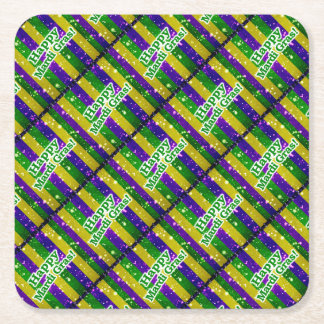 Happy Mardi Gras Poster Square Paper Coaster