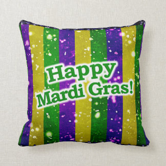 Happy Mardi Gras Poster Throw Pillow