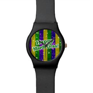 Happy Mardi Gras Poster Wrist Watches
