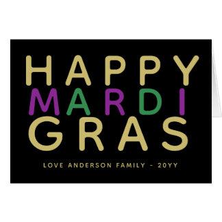 Happy Mardi Gras Purple Green Gold Personalized Card