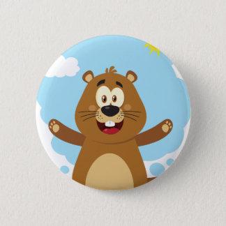 Happy Marmot Cartoon Mascot 2 Inch Round Button