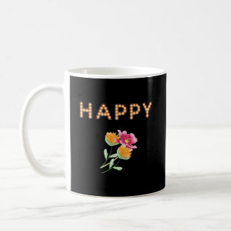 HAPPY, Marquee Light Bulb Letters, Flowers Coffee Mug