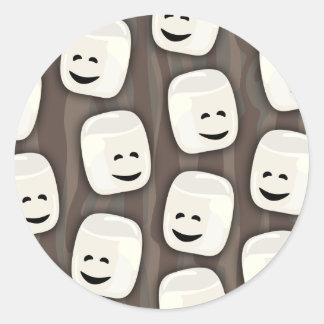 Happy Marshmallow Friends Pattern Classic Round Sticker