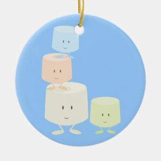 Happy marshmallows ceramic ornament