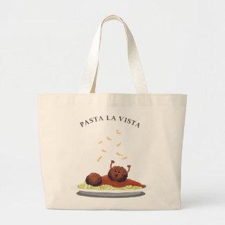 "Happy Meatball ""Pasta La Vista!"" Large Tote Bag"