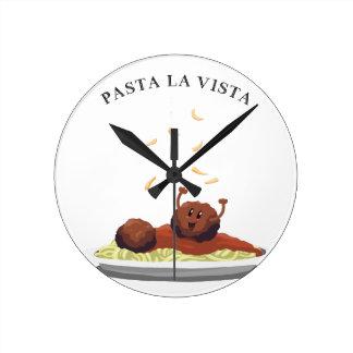 "Happy Meatball ""Pasta La Vista!"" Round Clock"
