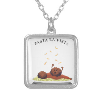 "Happy Meatball ""Pasta La Vista!"" Silver Plated Necklace"