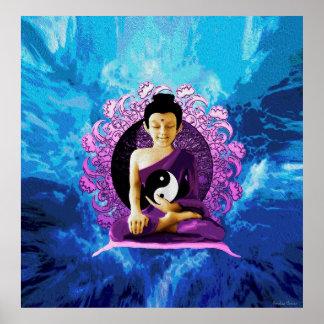 Happy Meditating Buddha Poster