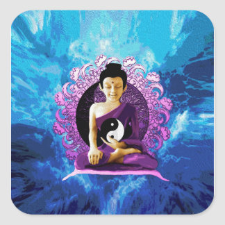 Happy Meditating Buddha Square Sticker