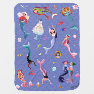 Happy mermaids playing and having fun baby blanket