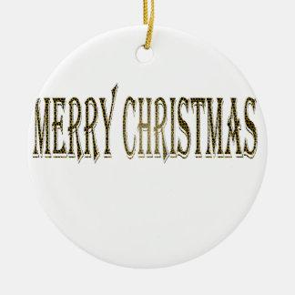Happy Merry Christmas Ceramic Ornament