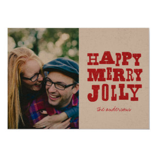 Happy Merry Jolly grunge antique type holiday card
