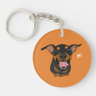 Happy Min Pin Dog Keychain