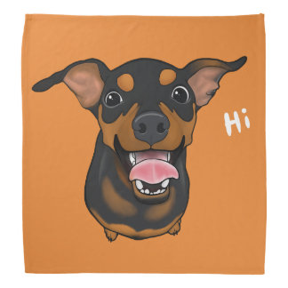 Happy Min Pin Dog Miniature Pinscher Bandana