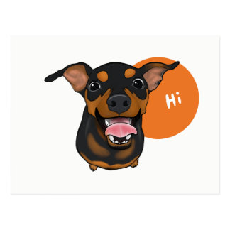 Happy Min Pin Miniature Pinscher Postcard
