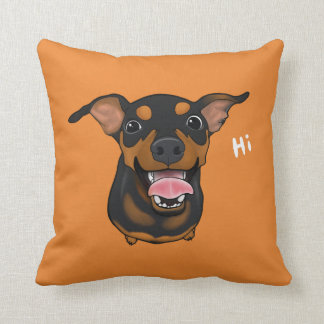 Happy Min Pin Miniature Pinscher Throw Pillow
