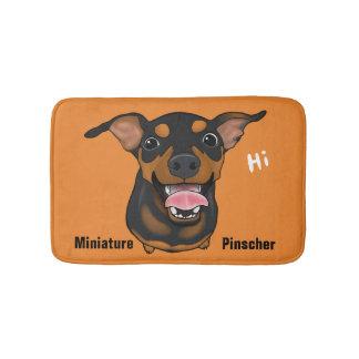 Happy Miniature Pinscher Dog Portrait Bathroom Mat