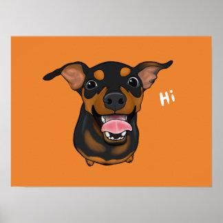 Happy Miniature Pinscher Min Pin Portrait Poster