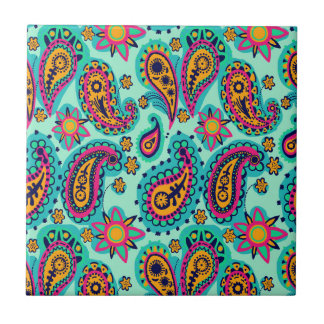 Happy Mint and Orange Paisley Pattern Ceramic Tiles