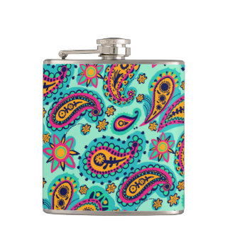 Happy Mint and Orange Paisley Pattern Hip Flask