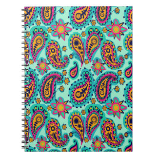 Happy Mint and Orange Paisley Pattern Notebooks