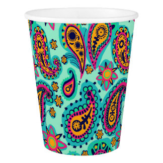 Happy Mint and Orange Paisley Pattern Paper Cup