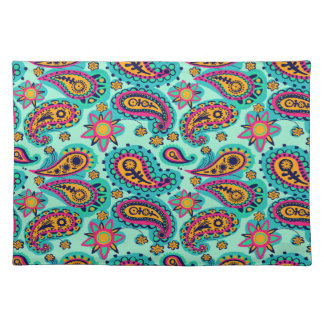Happy Mint and Orange Paisley Pattern Placemat