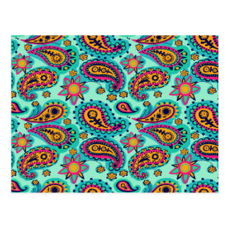 Happy Mint and Orange Paisley Pattern Postcard