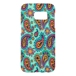 Happy Mint and Orange Paisley Pattern Samsung Galaxy S7 Case