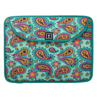 Happy Mint and Orange Paisley Pattern Sleeve For MacBooks