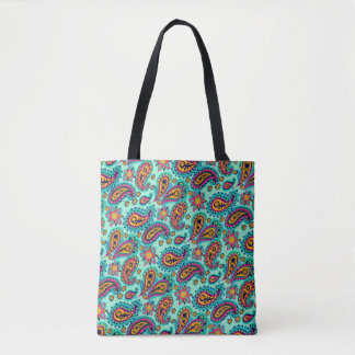 Happy Mint and Orange Paisley Pattern Tote Bag