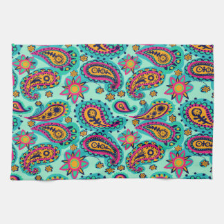 Happy Mint and Orange Paisley Pattern Towels