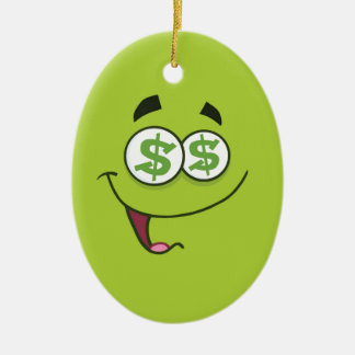 Happy Money Emoji Ceramic Ornament