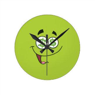 Happy Money Emoji Round Clock