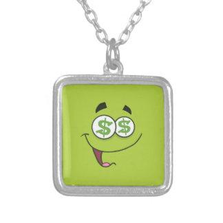 Happy Money Emoji Silver Plated Necklace