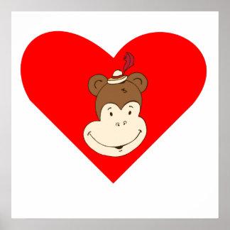 Happy Monkey Face Heart Posters