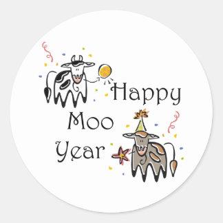 Happy Moo Year Classic Round Sticker