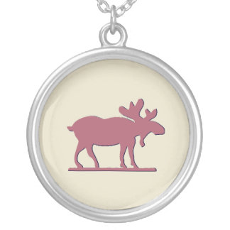 Happy Moose - Pink Silver Plated Necklace