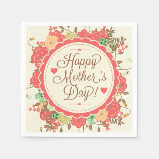 Happy Mother Day Text & Colorful Floral Design Disposable Napkins