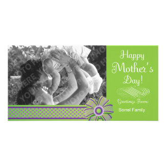 Happy Mother s Day Green Purple Photo Card