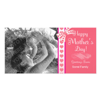 Happy Mother s Day Pink Ribbon Photo Card Template