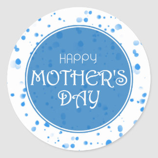 Happy Mother's Day Abstract Blue Classic Round Sticker