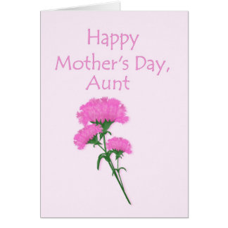 Happy Mother's Day Aunt Pink Carnations Cards